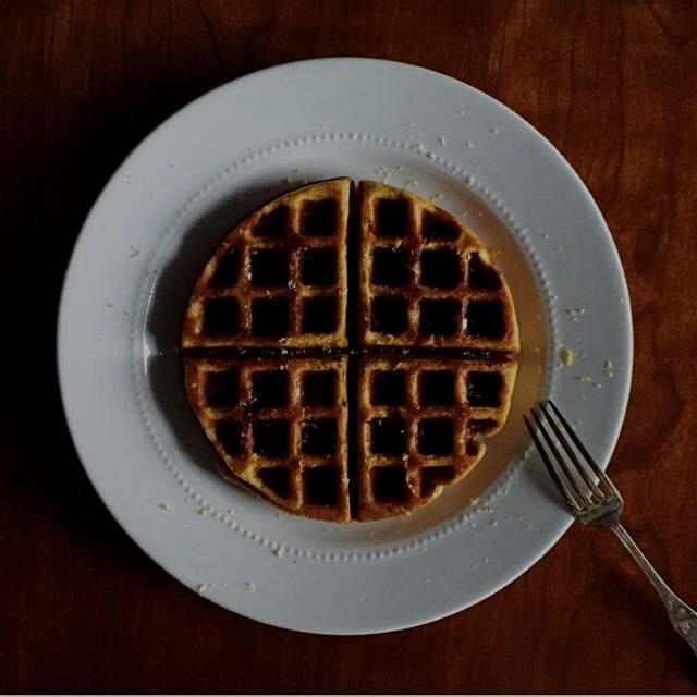"""Buttermilk """"bumpkin"""" waffles (bumpkin is a pumpkin + butternut squash hybrid) with ginger, served..."""