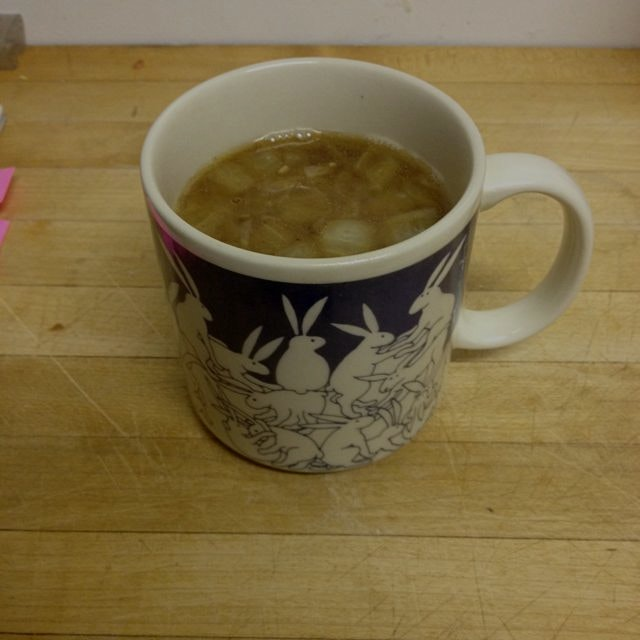 Mug of gingery bone broth for a frigid evening