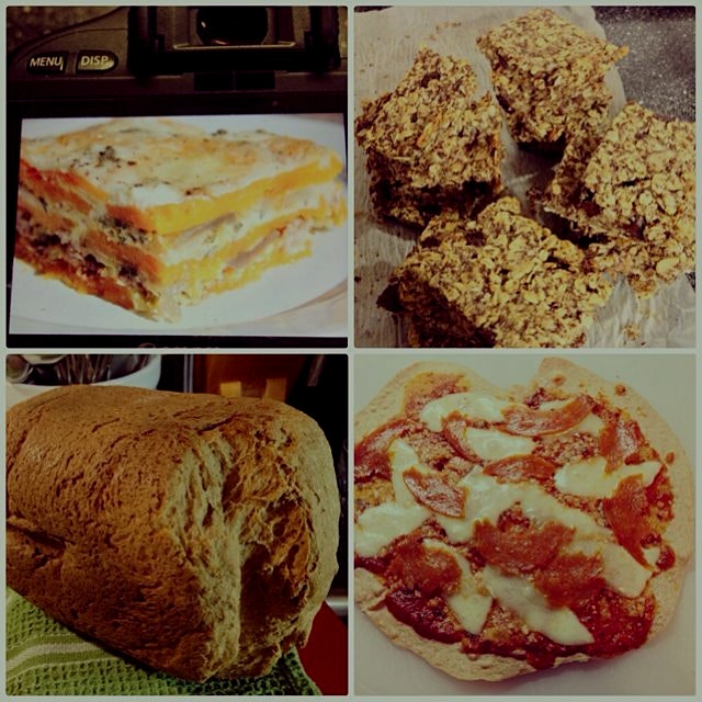 Busy 24 hours- butternut squash 'lasagna', chocolate peanut butter granola bars, whole wheat brea...