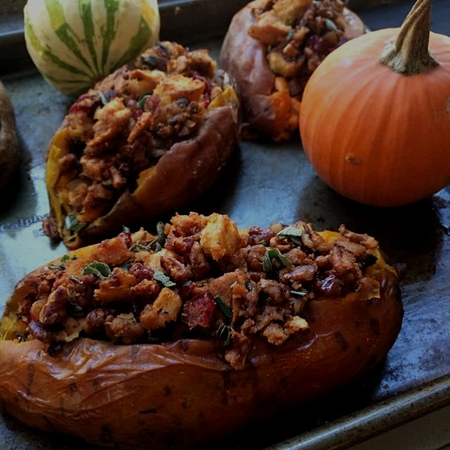 Thanksgiving stuffed sweet potato. GF DF and it's SO good. Guaranteed to make everyone at thanksg...