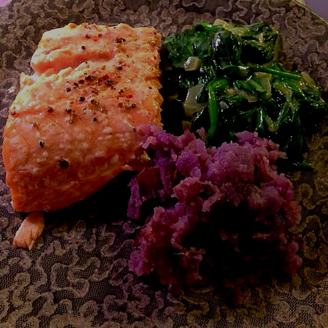 Succulent salmon, purple potatoes, and my fav creamed spinach!