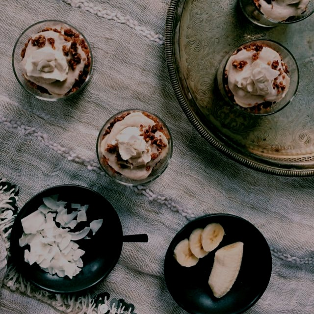 lacuma date caramel + banana coconut cream parfaits with pecan crumble: no-bake healthy decadence...