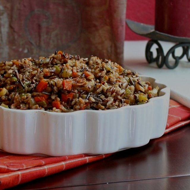 Healthy Wild Rice Stuffing 🎄❤️🍂❤️🎆. Search for it on www.GreatFoodLifestyle.com. Gluten and dairy...