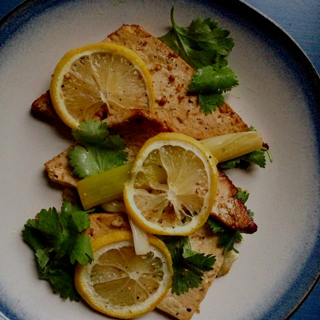 Vegan Miso Tofu Confit with Leeks and Lemon - The Joy of Vegan Cooking Project on meettheshannons...
