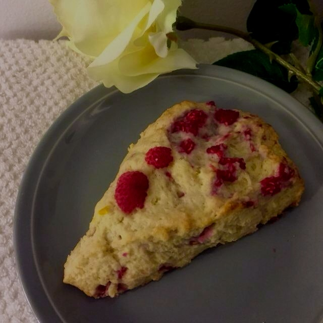 Scratch raspberry lemon scones for tea at home