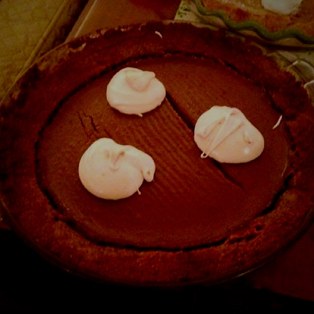 Had a pumpkin pie-off with my mom this year. Used the Food Babe's recipe with whipped coconut mil...