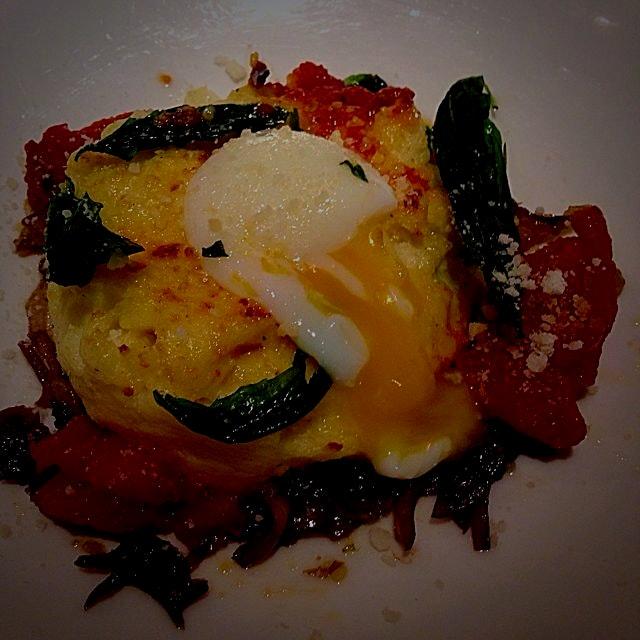 Farm fresh egg in baked polenta with roasted vegetables for breakfast! Yum!