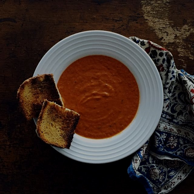 Roasted tomato + pepper soup (frozen last summer) and grilled cheese with homemade wheat bread + ...