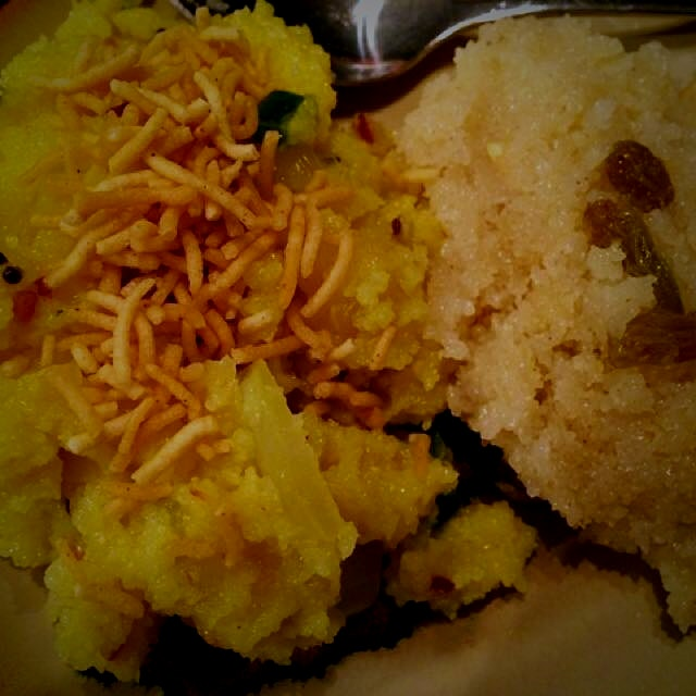 This is an anytime comfort food for me. Spicy Upma (cream of wheat) along with sweet sheera (crea...