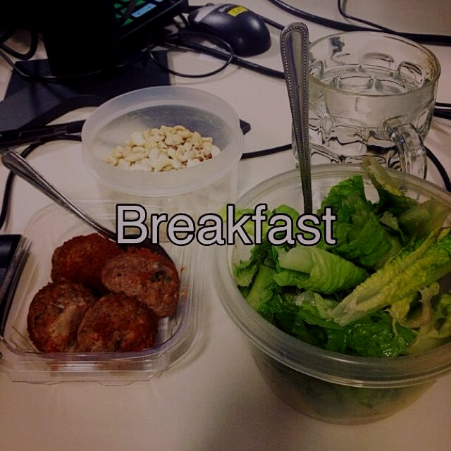 Mixed raw nuts, elk meat balls, romaine lettuce. A nice hearty breakfast :)