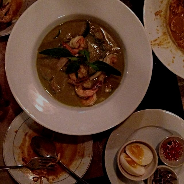 Delicious green curry shrimp noodle take at Brooklyn newcomer bringing Northern Thailand to Red Hook