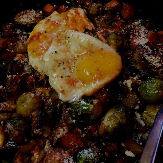 Brussels sprouts, sweet potato, mushroom hash with fried eggs #brunch