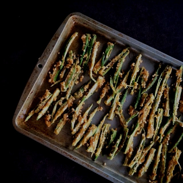 Spiced okra chips - baked not fried! Glutenfree & Vegan