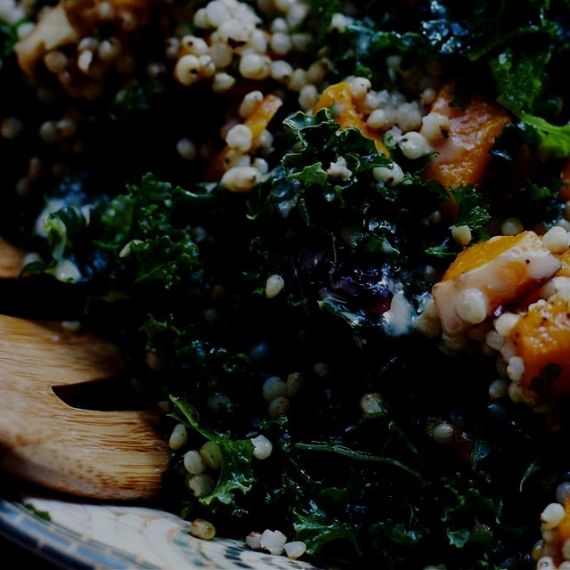 Butternut squash, kale and sorghum salad on the blog! Massaging kale is the best. http://bit.ly/1...
