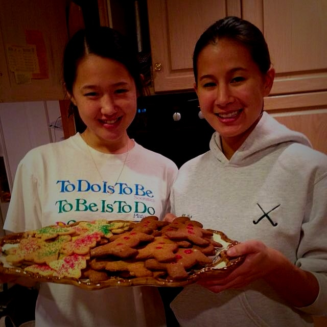 My sister and I with our delicious Christmas cookies! #gingerbread #sugarcookies #foodpeeps