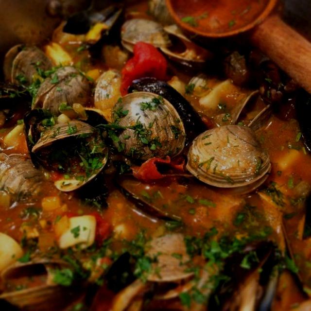 Saffron scented seafood stew