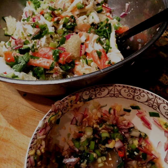 #Thai style king #crab and #pomelo #salad