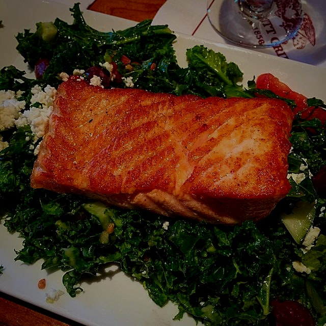 Fresh grilled wild Atlantic Salmon and kale! My fav!