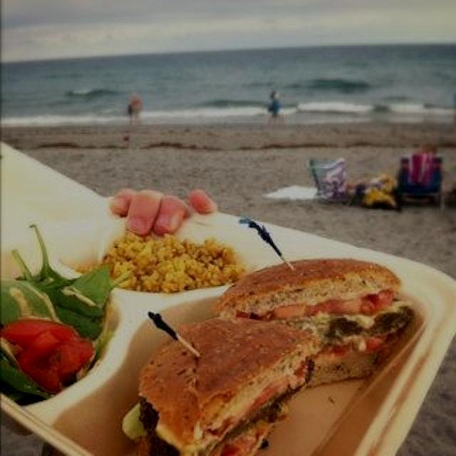 Delray goes #vegan. Incredible portobello mushroom burger with avocado and a splash of housemade ...