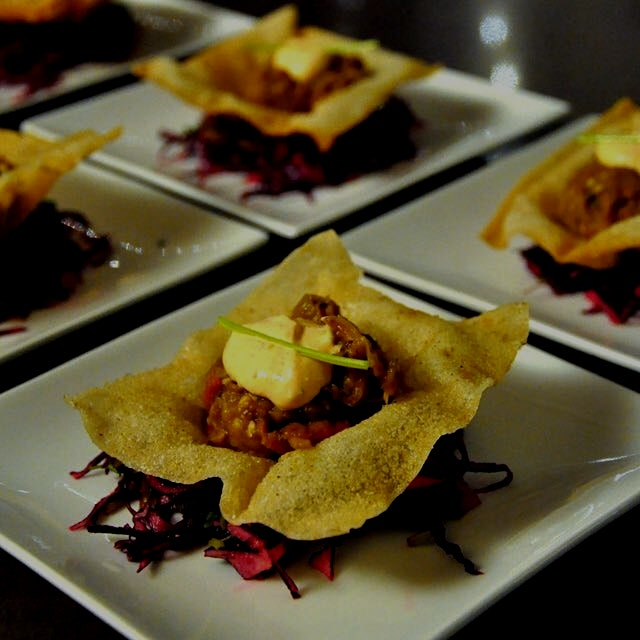 One of my favs from the 29. Kitchen in 2014! Smoked eggplant chutney, crisp wonton shell & red ca...