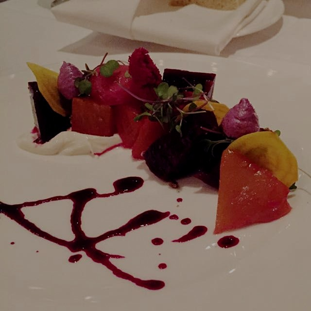 A beautiful beet salad with beet meringues and a Meyer lemon yogurt sauce at Aria Atlanta.