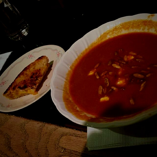 Chipotle red pepper soup with a side of grilled cheese
