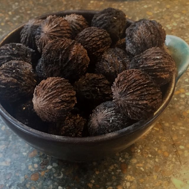 Black walnuts husked, dried by the wood stove, hard as a rock and yummy.