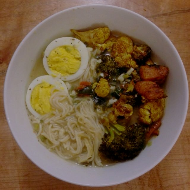 stayed in post long week and made veggie ramen with ginger and turmeric to fight the cold! keep w...