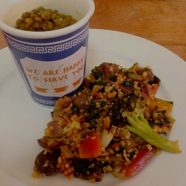 post crossfit workout crave: french lentil turmeric soup & stir fry ginger veggies w/quinoa to fu...