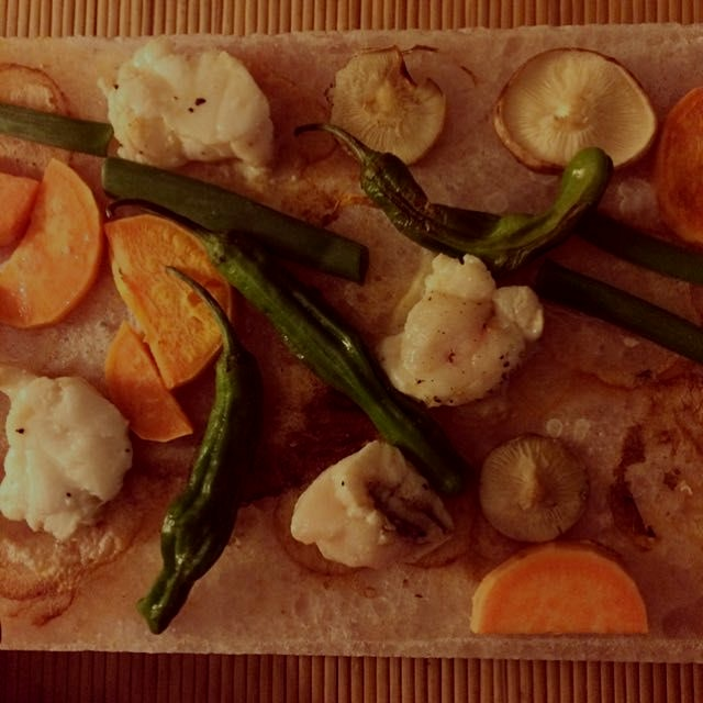 #latergram of last night's #homemade #dinner - #monkfish and vegetables cooked on a hot Himalayan...