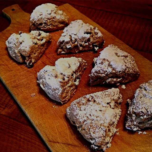 Stollen Scones. All the flavours of a German Stollen- the candied ginger, orange peel, nuts and r...