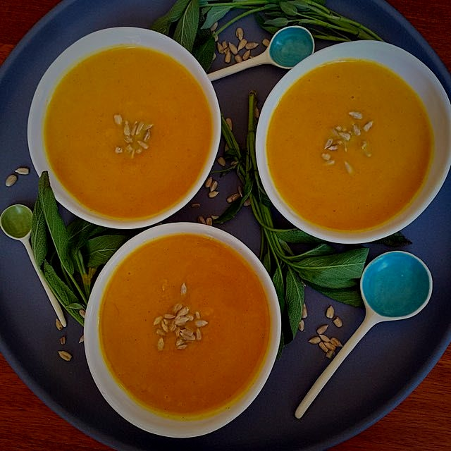 Butternut Squash with Fresh Sage Soup for lunch today! I topped it with sunflower seeds!