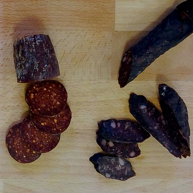 British meat tasting. Pepperone from Islington & Chocolate, Red Wine, Blood from Monmouthshire.#c...