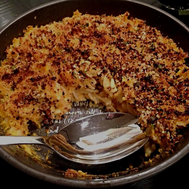 Hidden in this Mac 'n cheese sauce is a sweet potato and cauliflower. Topped with panko, garlic, ...