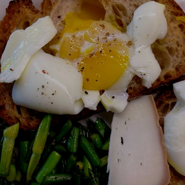 Garlic scapes and soft egg for Saturday lunch