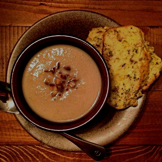 Parsnip, Pear and Chestnut soup. Savoury cheese and herb bread. Both adapted from Around My Frenc...