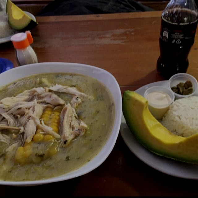 Ajiaco - traditional soup here in Bogota.