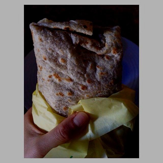 Chile relleno & carne asada burrito from La Azteca Tortilleria