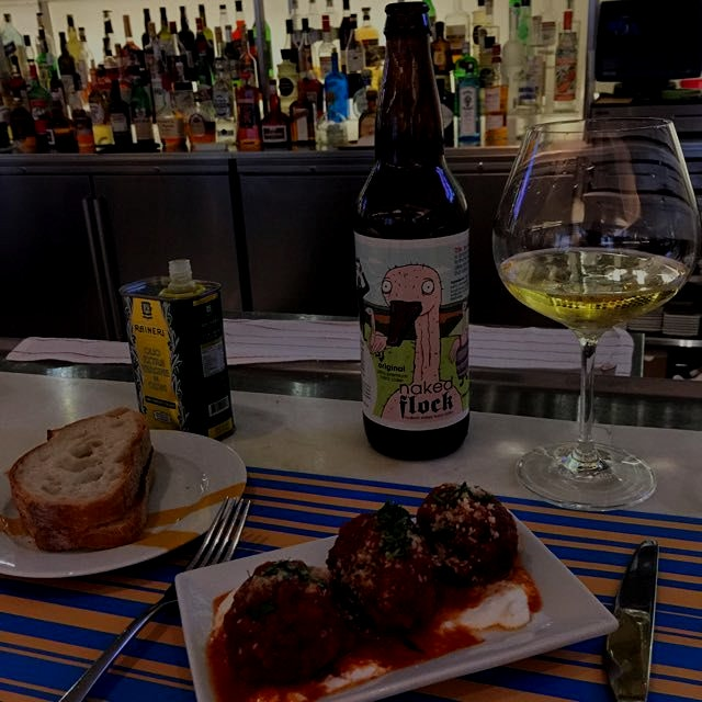 A little snack before work clothes shopping. Veal meatballs & Naked Flock Cider #nyceats #nycdrin...