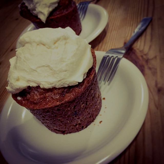 My go-to comfort standard: zucchini-carrot-walnut muffin with cream cheese frosting.