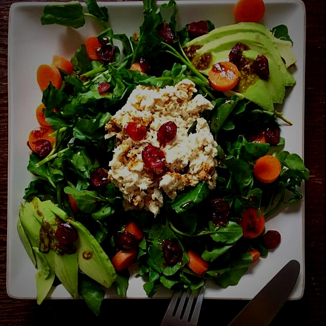 Tuna salad, water cress, avocado, carrots and cranberries with balsamic vinaigrette.