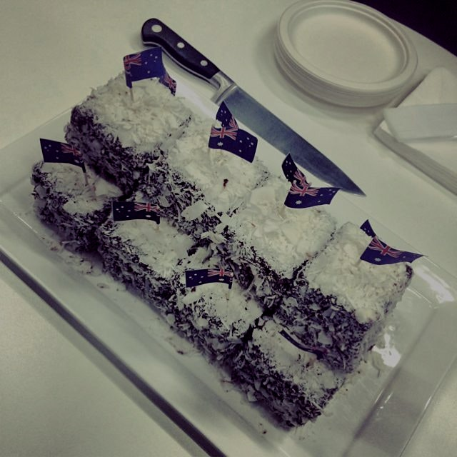 Celebrating Australia Day in the office with panna cotta lamingtons from Flour & Stone. Delicious...