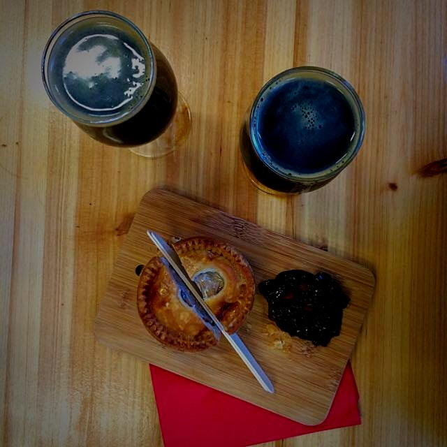 Afternoon at our neighbourhood Brewer's with Oatmeal Stout and locally made Pork Pie. #nomnomnom