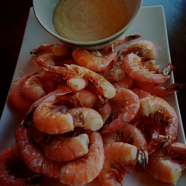 Salt baked shrimp with aioli