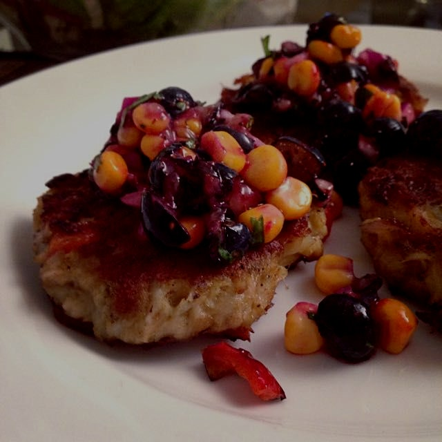Crab cakes with blueberry-corn salsa --from Seriously Delish by #JessicaMerchant
