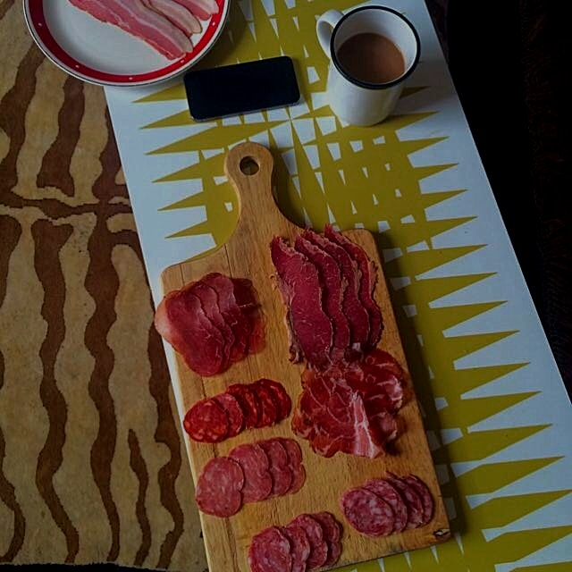 Charc tasting with all- British Cured Meats! (Plus a cup of tea. Typical)