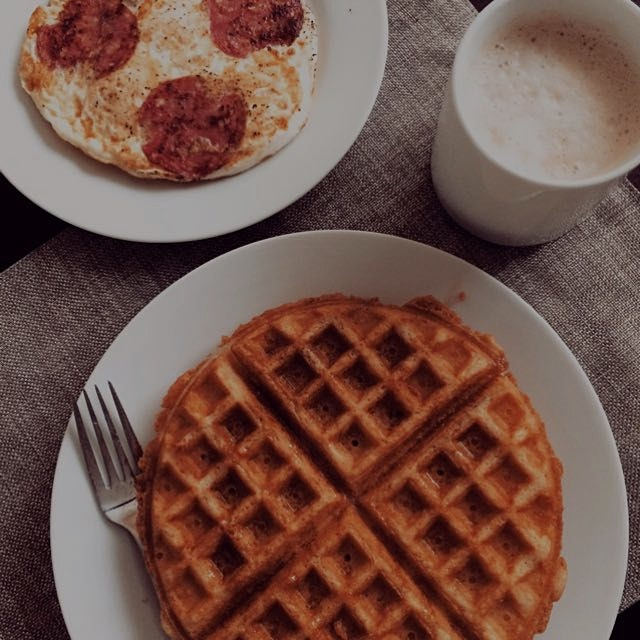 Made gluten free waffles (recipe from ELC) to go along with my usual Eggitza (eggs & salami) and ...