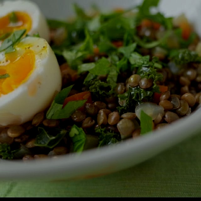 Lentil stew with kale and egg, one of the simplest and versatile dishes that is super delicious a...