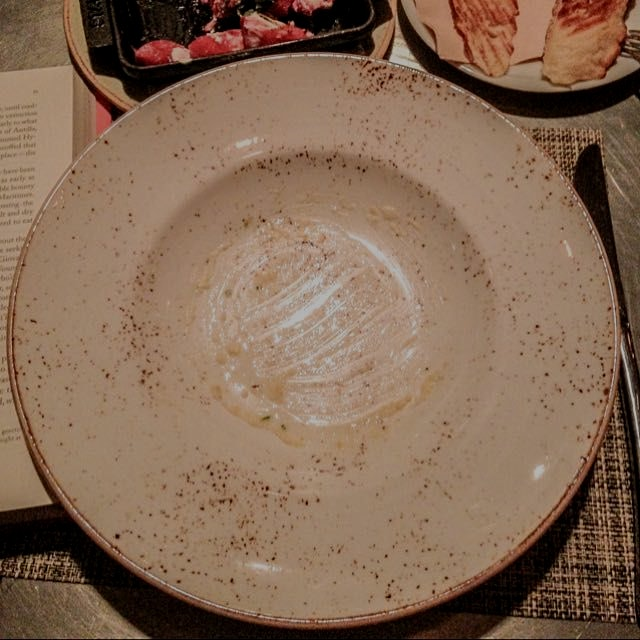 All that remained of the Anson Mills polenta I was happy to find on the menu tonight at Fig in Sa...