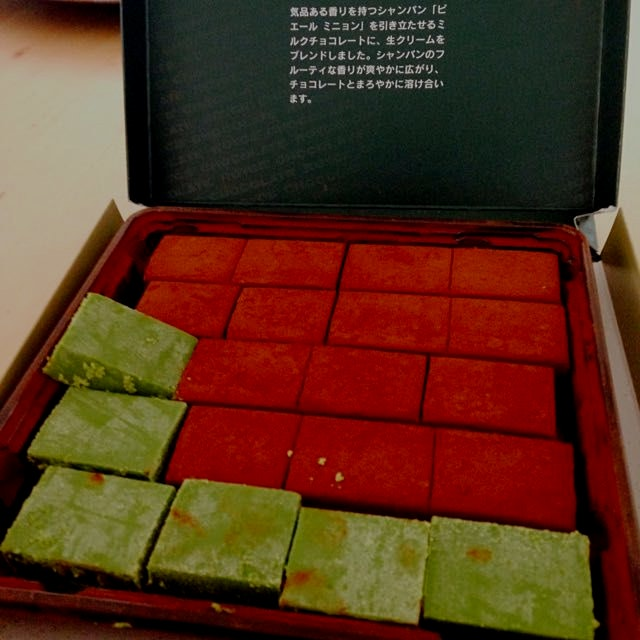 Maccha and champagne chocolates from Royce